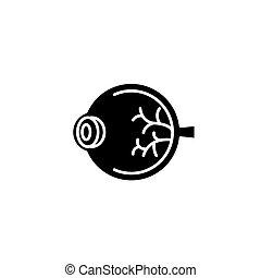 concept., wektor, czarnoskóry, symbol, oko, płaski, ikona, znak, illustration.