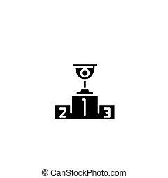 concept., wektor, czarnoskóry, symbol, płaski, filiżanka ikona, znak, pierwszy, illustration.