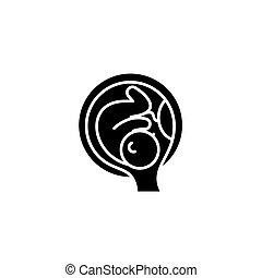 concept., wektor, czarnoskóry, symbol, płaski, ikona, łono, znak, embrion, illustration.
