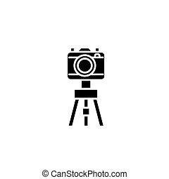 concept., wektor, czarnoskóry, symbol, płaski, ikona, znak, aparat fotograficzny, trójnóg, illustration.