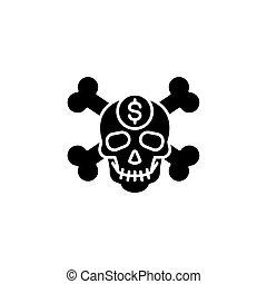 concept., wektor, czarnoskóry, symbol, płaski, ikona, znak, korupcja, illustration.