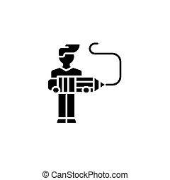 concept., wektor, czarnoskóry, symbol, płaski, ikona, znak, projektant, illustration.