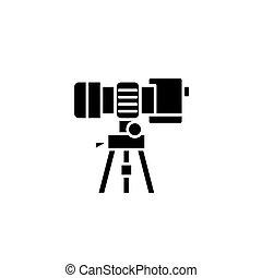 concept., wektor, czarnoskóry, symbol, stać, płaski, ikona, znak, aparat fotograficzny, illustration.