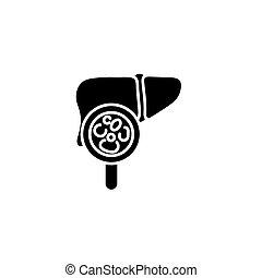 concept., wektor, czarnoskóry, wątroba, egzamin, symbol, płaski, ikona, znak, illustration.