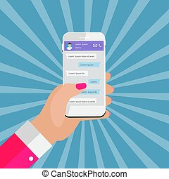 concept., wektor, dzierżawa ręka, głoska., towarzyski, apps, boxes., ruchomy, abstrakcyjny, wndow, sieć, chating, pogawędka, wiadomość, posłaniec, ilustracja, pojęcie