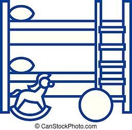 concept., wektor, kreska, pokój, symbol, płaski, ikona, znak, dzieci, szkic, illustration.