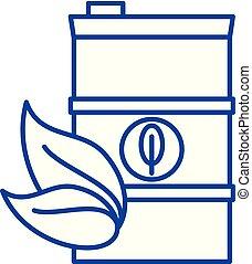 concept., wektor, kreska, symbol, opał, płaski, ikona, znak, szkic, bio, illustration.
