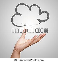 concept, werkende , gegevensverwerking, hand, diagram, computer, interface, nieuw, wolk