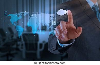 concept, werkende , gegevensverwerking, hand, diagram, computer, zakenman, interface, nieuw, wolk