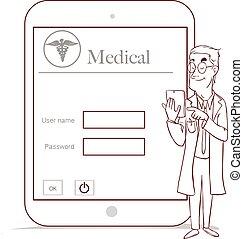 concept, werkende , tablet, arts, medisch, moderne, feitelijk, geneeskunde, computer, interface
