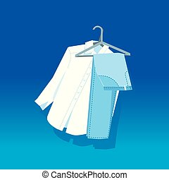 Concept white pants and blue shirt on hangers. simple...