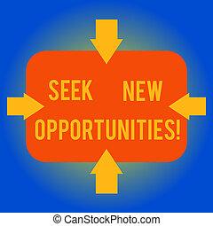 concept, wijzende, opportunities., photo., vier, vorm, een ander, leeg, zoeken, innerlijk, schrijvende , het kijken, tekst, nieuwe zaken, betekenis, kanten, pijl, werk, rechthoekig, verschiet, handschrift, of