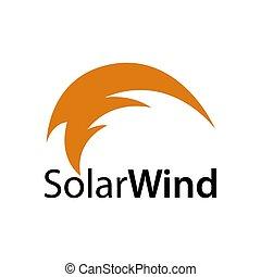 concept, wind., résumé, illustration, conception, solaire, logo, icône, vent, gabarit