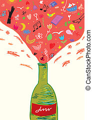 Concept wine bottle - fun and joy for girls cards