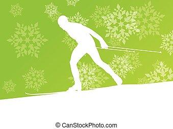 concept, winter, atleet, snowflakes, achtergrond, skiing ...