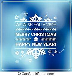 concept, winter, groet, feestdagen, vrolijk, jaar, nieuw, spandoek, kerstmis kaart, vrolijke