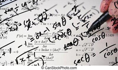 concept., wiskundig, opleiding, aantekening, volle, formulas...