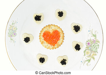 Concept with black and red caviar