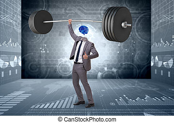 Concept with brain man and dumbbell