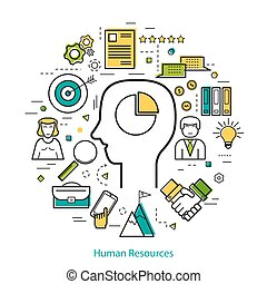 Vector Round Concept of Human Resource - HR. Line Art Infographic on white background with contour of a mans head in the center and around the various line icons