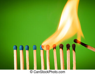 chain reaction - concept with matches- chain reaction