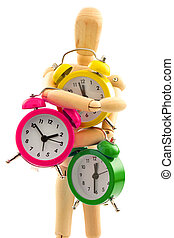 Concept with wooden toy with clocks