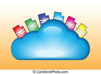 concept, wolk, illustratie, gegevensverwerking