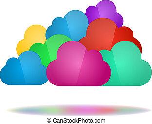 concept, wolken, gegevensverwerking, kleur, -, set, wolk