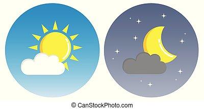 concept, wolken, zon, maan, nacht, cirkel, dag