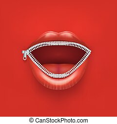 concept, womans, lips., bouche, fond, ouvert, boycott.