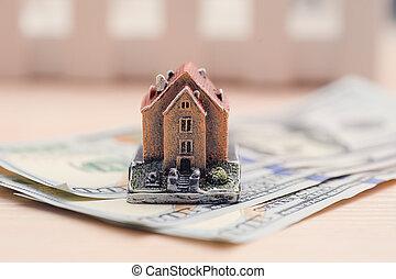concept, woning, geld, denominations, eigendom, aankoop