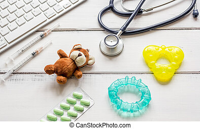 concept wooden desktop children doctor top view