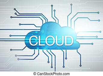 concept, woord, achtergrond, beeld, circuit, digitale , microchip, wolk
