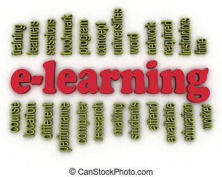 concept, woord, beeld, achtergrond, e-leert, wolk, 3d