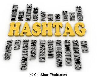 concept, woord, beeld, achtergrond, hashtag, wolk, 3d
