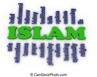 concept, woord, beeld, achtergrond, islam, wolk, 3d