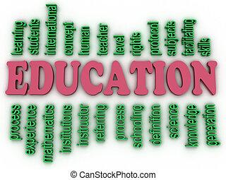 concept, woord, beeld, achtergrond, opleiding, wolk, 3d