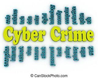 concept, woord, beeld, cyber, misdaad, achtergrond, wolk, 3d
