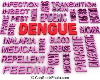 concept, woord, beeld, dengue, achtergrond, wolk, 3d
