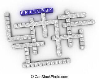 concept, woord, beeld, epilepsie, wolk, 3d