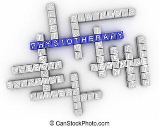 concept, woord, beeld, fysiotherapie, wolk, 3d
