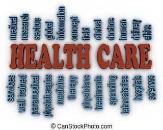 concept, woord, beeld, gezondheid, achtergrond, care, wolk, 3d
