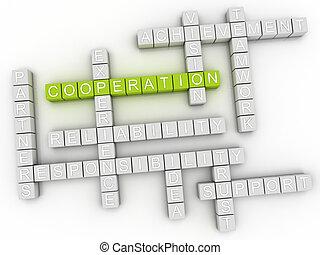 concept, woord, beeld, samenwerking, wolk, 3d
