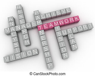 concept, woord, beeld, teamwork, kwesties, achtergrond, wolk, 3d