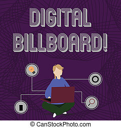 concept, woord, billboard., zakelijk, vloer, technisch, tekst, draagbare computer, zittende , icons., schrijvende , beelden, vrouw, gekruiste, vertoningen, digitale , buitenreclame, benen, grasduinen, reclame