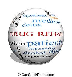 concept, woord, bol, medicijn, rehab, wolk, 3d