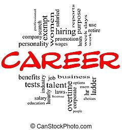 concept, woord, &, carrière, zwart rood, wolk