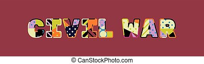concept, woord, civiel, illustratie, kunst, oorlog