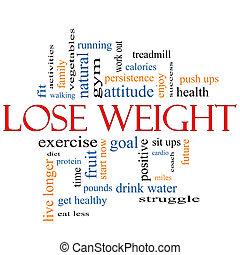 concept, woord, gewicht, wolk, verliezen