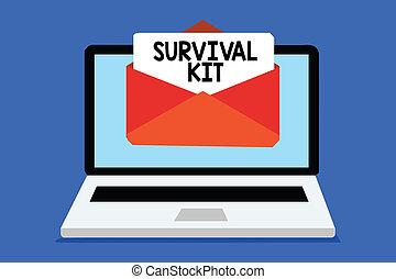 concept, woord, helpen, noodgeval, papier, tekst, voortbestaan, enveloppe, kit., schrijvende , zakenuitrustingen, iemand, computer, verzameling, email, items, boodschap, krijgen, virtual., belangrijk